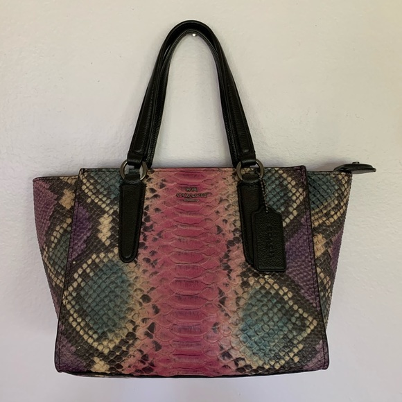 Coach Handbags - Coach Crosby Mini Carryall Python Leather Purse